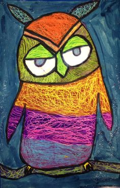 scratch art owl, outline with black glue, color in sections with pastel, paint sections with darkish  paint, when dry scratch each section