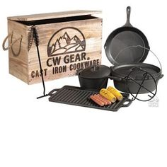 Cast Iron Cookware Set .... awesome set, love that it comes with little carry bags for each item too - getting this for sure ... 62.98 camping world
