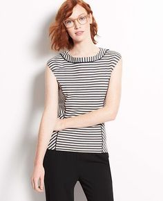Striped Structured Cap Sleeve Top