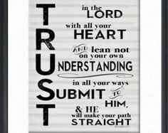 Trust in the Lord. Scripture Art. 11x17 Digital File. Proverbs 3:5-6