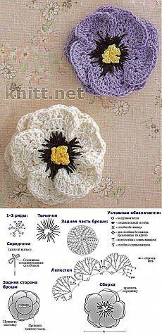 Брошь, цветок крючком | knitt.net | Все о вязании