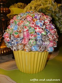 Lollypop cupcake. Sucker tree. Sucker cupcake. Birthday party for kids.  P.S. I used a 4 inch foam ball... and almost a whole 1lb bag of suckers.