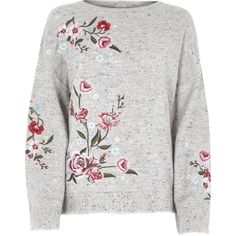 Grey floral embroidered jumper ($99) ❤ liked on Polyvore featuring tops, sweaters, long sleeve jumper, knit sweater, gray crew neck sweater, crewneck sweaters and gray crewneck sweater