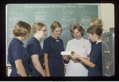 """Ball State University student nurses at veterans hospital"" - To learn more, visit the Ball State University Campus Photographs in the Ball State University Digital Media Repository. Copyright 2013, Ball State University. All rights reserved."