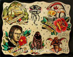 Star Wars Tattoo Flash Sheet 11x14 by SMTCprints on Etsy, $25.00