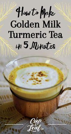 How to Make Golden Milk Turmeric Tea in 5 Minutes Wie man Goldmilch-Kurkuma-Tee in 5 Minuten macht Tumeric Tea Recipe, Tumeric And Ginger, Turmeric Recipes, Turmeric Tea, Tumeric Latte, Turmeric Health, Turmeric Smoothie, Ginger Tea, Thyroid Health