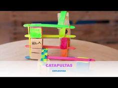 Experimentos para niños. Catapultas explosivas. - AEIOUTURURU | Talleres creativos para peques Toothbrush Holder, Ideas, Catapult, Wood Slats, Jelly Beans, Objects, Thoughts