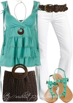 Turquoise top & white jeans - Click image to find more fashion posts