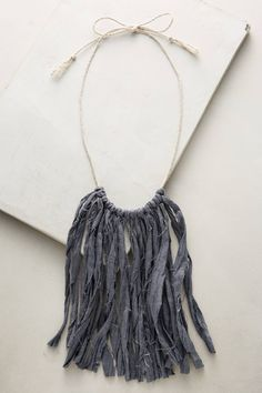 Slide View: 1: Linen Fringe Necklace