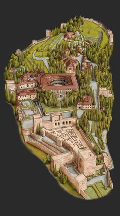La Alhambra de Granada by Alejandro Mulas, via Behance - Allambra, Granada, Espanha