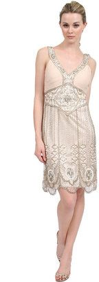 Sue Wong Deco Beaded Dress in Antique Champagne Sue Wong