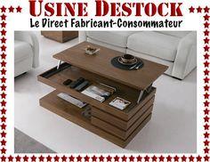 Table basse de salon relevable bois design moderne contemporain avec tiroirs in Maison, Meubles, Tables | eBay