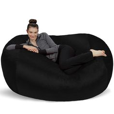 Sofa Sack - Plush Bean Bag Sofas with Super Soft Microsuede Cover - XL Memory Foam Stuffed Lounger Chairs for Kids, Adults, Couples - Jumbo Bean Bag Chair Furniture - Black Girl Cave, Babe Cave, Woman Cave, Extra Large Bean Bag, Large Bean Bags, Bean Bag Lounger, Bean Bag Sofa, Bean Chair, Classic Bean Bags