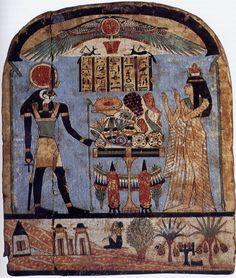 Una difunta realiza ofrendas ante una forma del dios solar Ra