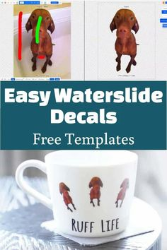 waterslide decal tutorial with free templates Diy Home Crafts, Handmade Crafts, Crafts To Make And Sell, Crafts For Kids, Personalized Mugs, Cricut Design, Projects To Try, Decals