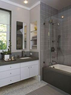 Bathroom Design Idea for Small Bathroom. 21 Bathroom Design Idea for Small Bathroom. 13 Pretty Small Bathroom Decorating Ideas You Ll Want to Grey Bathrooms Designs, Modern Bathroom Design, Bathroom Layout, Small Bathroom Decor, Simple Bathroom, Bathroom Tile Designs, Small Remodel, Bathroom Color Schemes