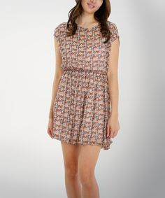 This O2 Collection Pink Geometric Blouson Dress by O2 Collection is perfect! #zulilyfinds