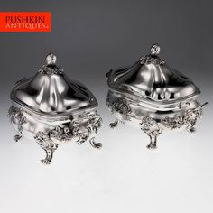 ANTIQUE 19thC VICTORIAN SOLID SILVER EXCEPTIONAL PAIR OF SOUP TUREENS c.1841