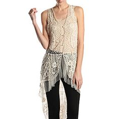 Ryu Cream Crochet Lace Long Vest by Baretreesboutique on Opensky