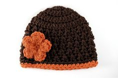 Brown and Orange Fall Crochet Baby Hat with by lauraanncrochet, $8.00