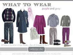 Ideas for family picture outfits.... fall_purple and grey