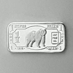 .999 Fine Pure REAL Silver 1 Gram Grizzly Bear Bullion Bar Rare.