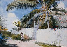 A Garden In Nassau - by Winslow Homer