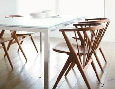 Room & Board - Soren Chair with Wood Seat - Modern Dining Chairs - Modern Dining Room & Kitchen Furniture Scandinavian Dining Chairs, Contemporary Dining Chairs, Modern Chairs, Modern Armchair, Dining Room Sets, Dining Room Chairs, Arm Chairs, Kitchen Chairs, Ikea Chairs