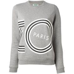 Kenzo Logo Print Sweatshirt (420 CAD) ❤ liked on Polyvore featuring tops, hoodies, sweatshirts, sweaters, grey long sleeve top, grey crew sweatshirt, crew neck top, crew-neck sweatshirts and cotton sweatshirts