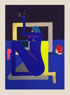 Richard Colman, Untitled (Blue Body), 2016, Acrylic and gouache on paper, 38,5 x 28 cm