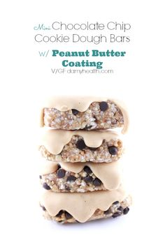 Mini Chocolate Chip Cookie Dough Bars with Peanut Butter Coating - These Mini Chocolate Chip Cookie Dough Bars are ridiculously easy and equally delicious, raw, vegan, gluten free, grain free, dairy free, no bake and will have you wanting more.