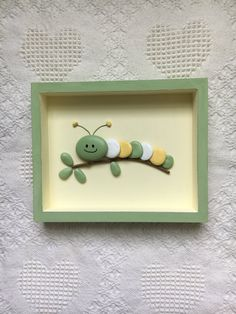 Caterpillar Decor Caterpillar Art Framed Pebble Art Nursery Wall Hanging Baby Shower Gift Kid S Room Wall Art Painted Stones - Painting new york Stone Crafts, Rock Crafts, Arts And Crafts, Resin Crafts, Felt Crafts, Button Art, Button Crafts, Caterpillar Art, Wooden Shadow Box