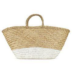 Painted Straw Basket - White