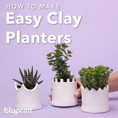 love your plants as much as we think you do we imagine you probably want to give them the best and most stylish planters possible! These DIY clay planters are SUPER easy to make and change up base on your style and the best part is no kiln required! Homemade Clay, Diy Clay, Clay Crafts, Diy Air Dry Clay, Air Drying Clay, Diy Planters, Clay Planter, Ceramic Planters, Garden Planters