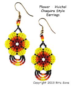Instant Download! Flower - Huichol Chaquira Style Earrings Pattern