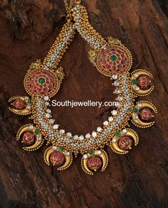 Ruby and Pearls Antique Gold Necklace