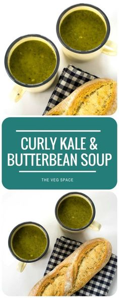 A delicious Curly Kale & Butter Bean Soup - protein packed to keep you feeling full until dinnertime and quick and easy to make! Alkaline Diet Recipes, Kale Recipes, Soup Recipes, Cooking Recipes, Vegetarian Soup, Healthy Soup, Vegetarian Recipes, Healthy Recipes, Recipes