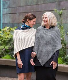 Twice Reversible Ribbed Poncho Pattern | In 2 sizes and 2 gauges from Churchmouse