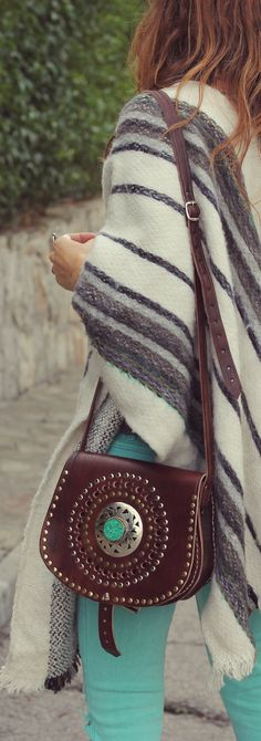 striped poncho and turquoise