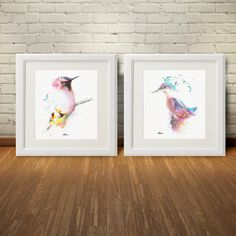 Bird Pink Watercolor Wall Art Print Set 2#home#decor#pink#wall#Art #print#kitchen#living#room #bedroom#gift#watercolor#painting#drawing#clipart
