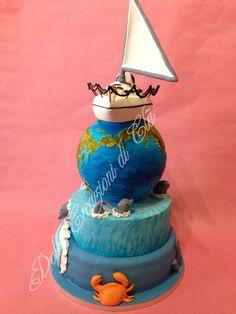 torta in barca a vela sul mappamondo