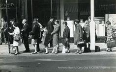 Photograph, street scene [Patrick Street], Cork showing people waiting at bus stop. Old Irish, Cork City, Cork Ireland, Bus Stop, Old Photos, Waiting, Photograph, Scene, Street
