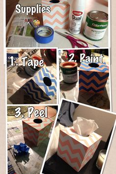 DIY Chevron Tissue Box
