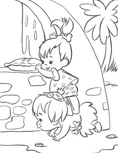 Pebbles and Bamm Bamm coloring page