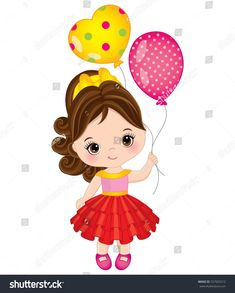 Vector cute little girl with balloons. Little girl vector illustration Teacher Birthday Gifts, Birthday Box, Baby Shower Clipart, Balloon Pictures, Eid Crafts, Its A Girl Balloons, Cupcake Drawing, Girl Clipart, Clip Art