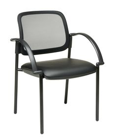 Screen Back and Faux Leather Seat Visitors Chair with Arms
