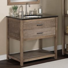 Elements 36 inch Granite Top Single Sink Bathroom Vanity Rustic Wood Granite | eBay