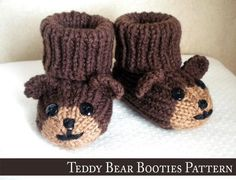 Teddy Bear Baby Booties Knitting Pattern Making these for Dominic! Baby Booties Knitting Pattern, Crochet Teddy Bear Pattern, Crochet Baby Booties, Baby Knitting Patterns, Crochet Patterns, Hat Crochet, Monkey Pattern, Knitted Baby, Sock Monkey Baby