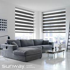 Een SUNWAY Eclips bestaat uit 2 lagen stof met transparante en dichte banen die voor elkaar langs bewegen. Deze raamdecoratie leent zich prima om te spelen met lichtinval.