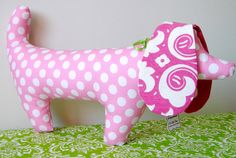 Dachshund Stuffed Toy Dog with Pink Polka Dots by OurPicketFence, $13.00